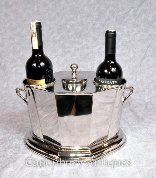 English Silver Plate Wine Cooler Champagne Bucket Server