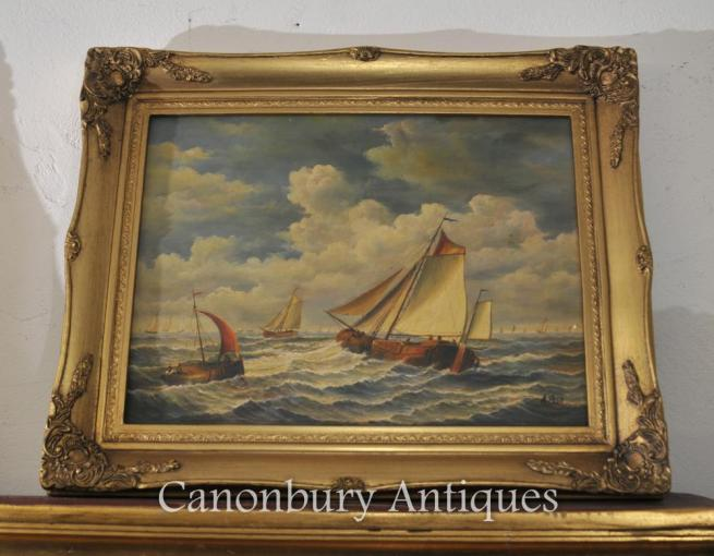 English Victorian Dorset Ship Painting Maritime Sea Scape Signed A Hess
