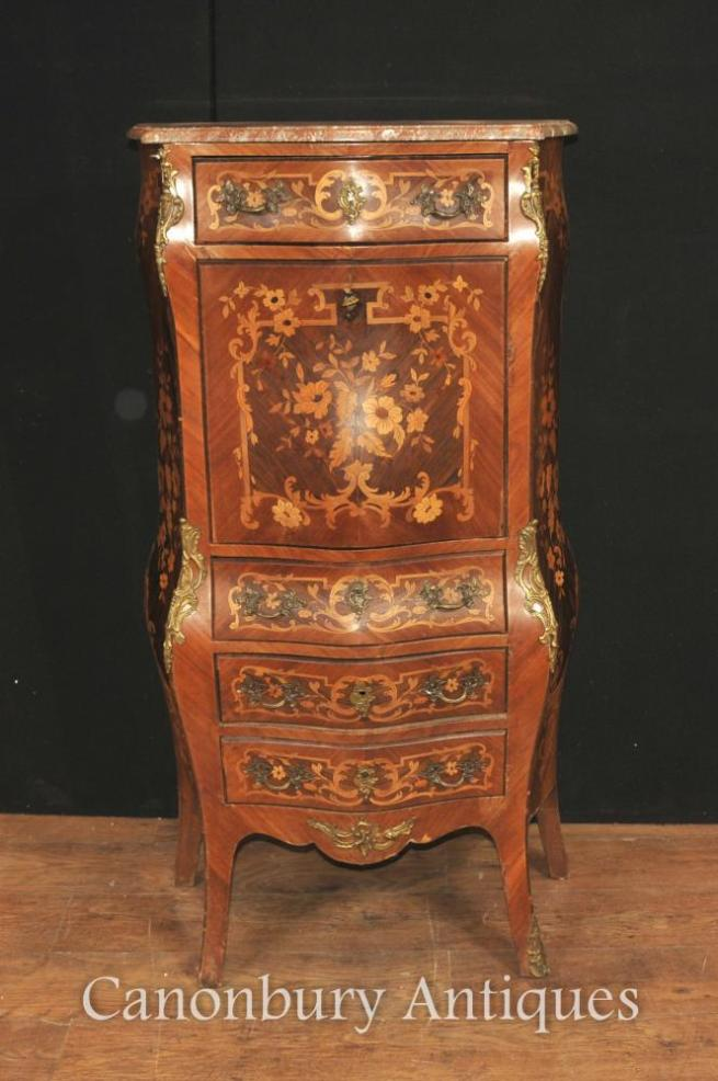 French Antique Escritoire Desk Chest 1900 Inlaid Empire