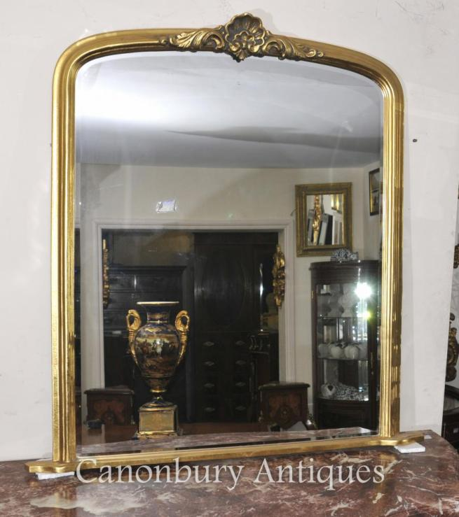 French Art Nouveau Gilt Mantle Mirror Glass Mirrors