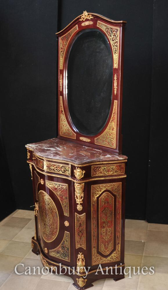 French Boulle Inlay Cabinet and Mirror Stand Credenza Dressing Table