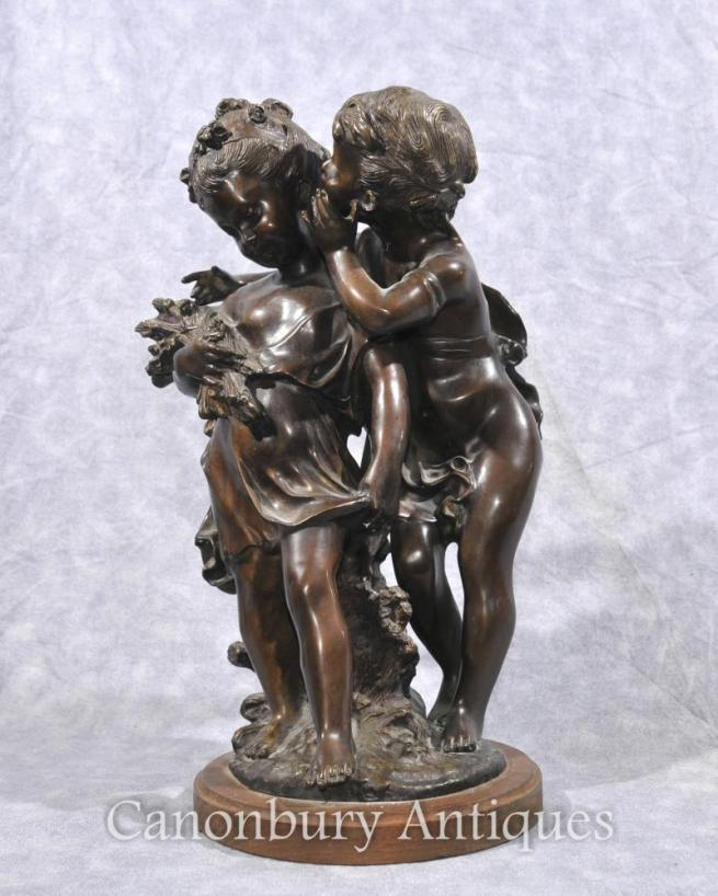 French Bronze Cherub and Girl Statue Signed Moreau