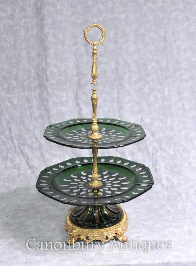 French Empire Crystal Glass Cake Stand Tiered Plates Ormolu