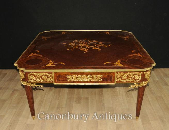 French Empire Kingwood Coffee Table Marquetry Inlay Tables