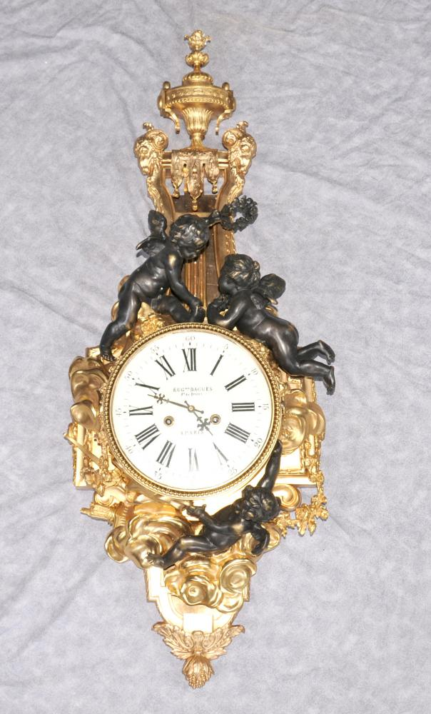 French Empire Ormolu Cherub Wall Clock Cherubim Bronze Clocks