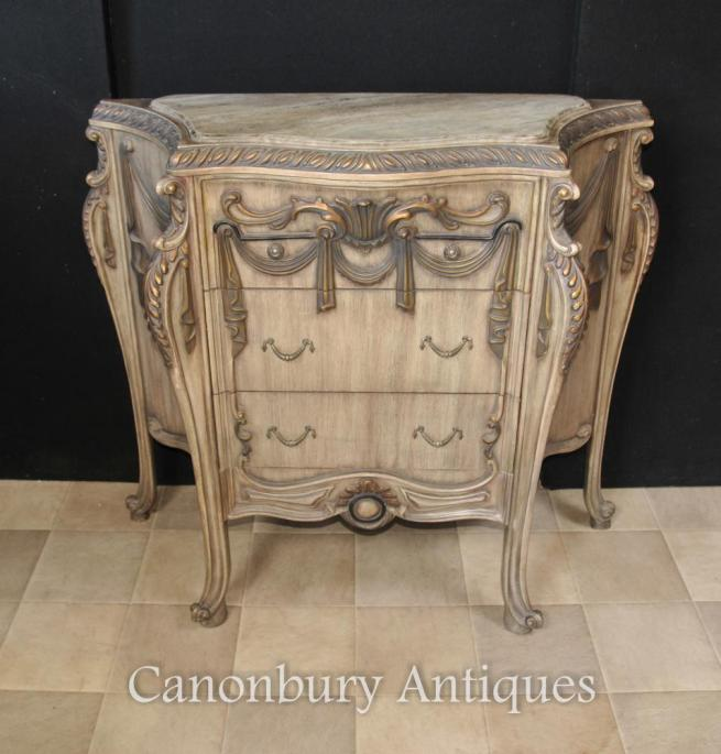 French Empire Painted Commode Chest Drawers Shabby