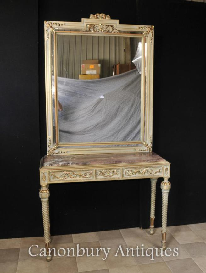 French Empire Painted Console Table and Mirror Set