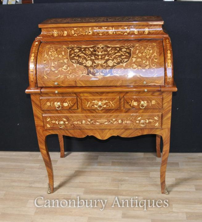 French Empire Roll Top Desk Marquetry Inlay Bureau Plat De Dame