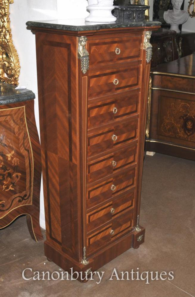 French Empire Tall Boy Chest Drawers Kingwood Furniture