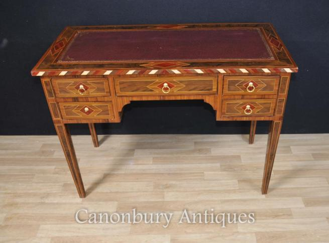 French Empire Walnut Desk Bureau Plat Knee Hole Table