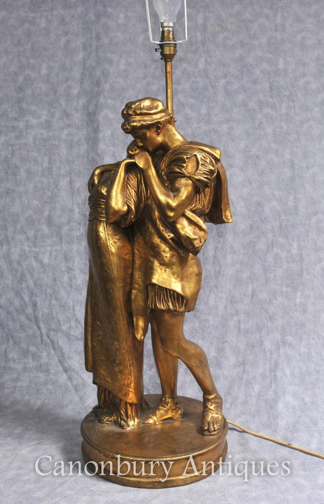 French Gilt Wood Table Lamp The Lovers Kiss