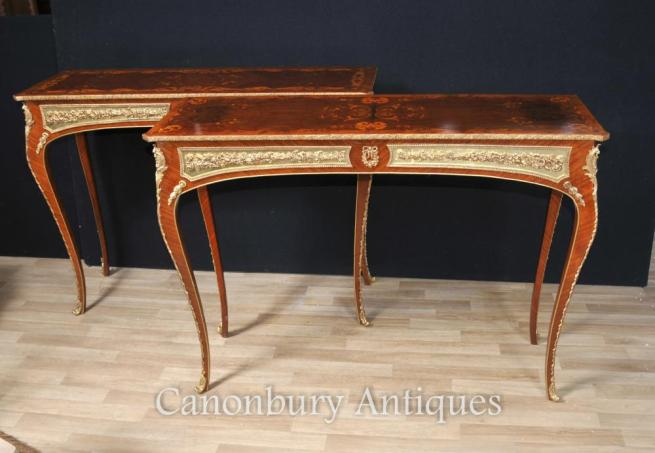 French Louis XVI Console Tables Inlay and Gilt Mounts Furniture