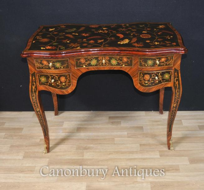 French Louis XVI Desk Bureau De Dame Writing Table Plat Inlay