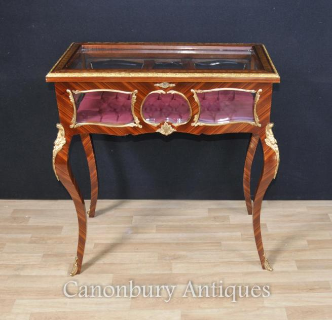 French Louis XVI Display Cabinet Jewellery Case Bijouterie