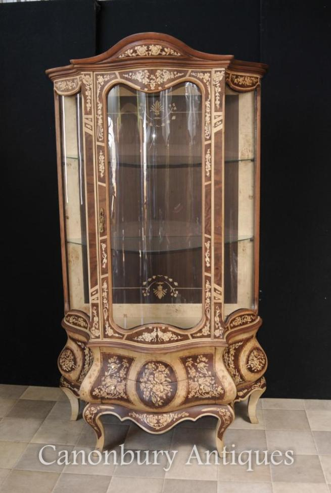 French Louis XVI Display Cabinet Marqeutry Inlay Bijouterie