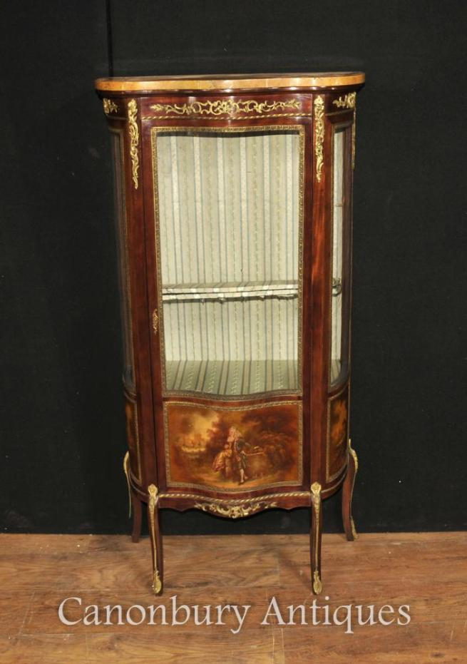 French Louis XVI Display Cabinet Vitrine in Vernis Martin Manner Harrods
