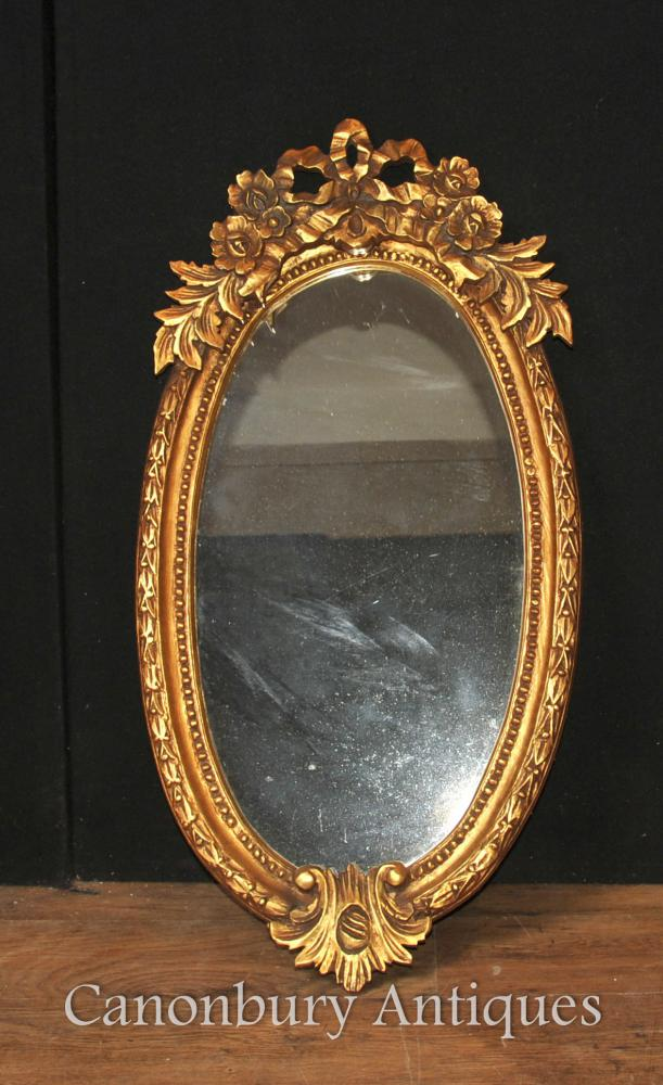 French Louis XVI Gilt Oval Mirror Glass