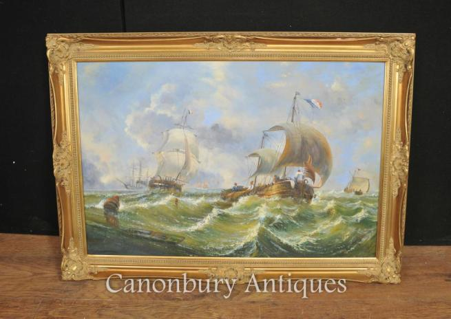 French Oil Painting Sea Scape Maritime Normandy Boats