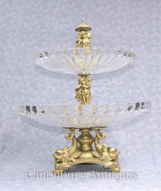 French Ormolu Glass Cake Stand Dish Sea Serpents Cherubs Comport