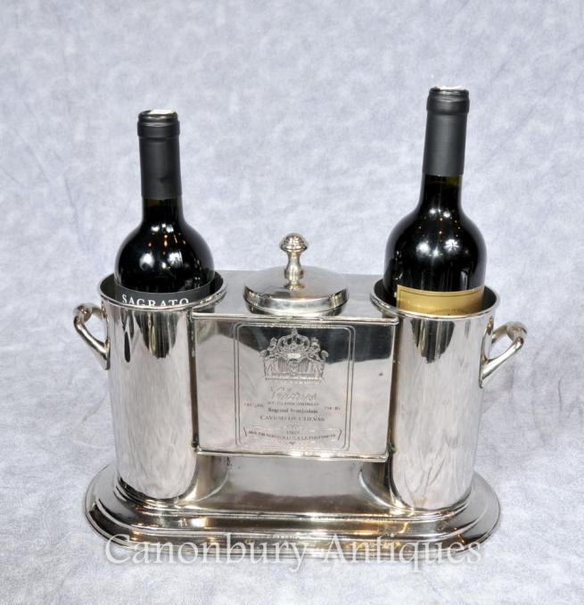 French Silver Plate Wine Cooler Champagne Bucket Chenas Beaujolais