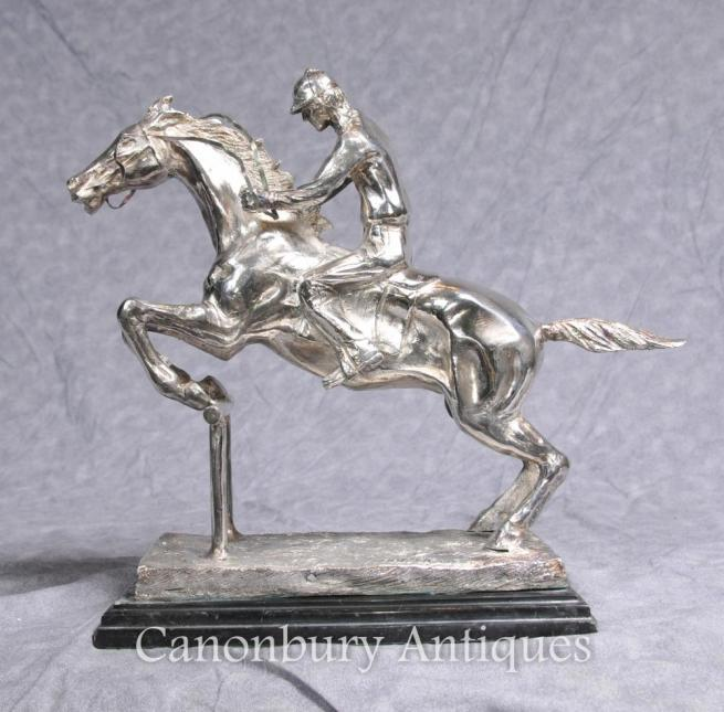 French Silver Plated Bronze Steeplechase Signed Bonheur Horse Jockey Jump