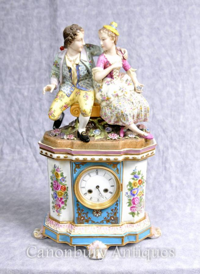 German Porcelain Dresden Figurine Mantle Clock