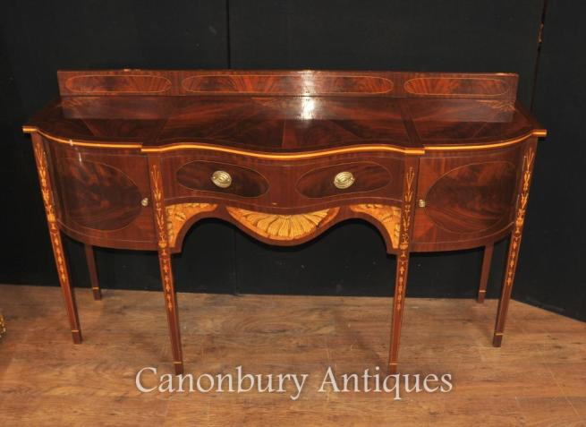 Hepplewhite Mahogany Sideboard Server Buffet Marquetry Inlay English Furniture