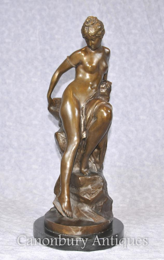 Italian Bronze Semi Nude Maiden on Rock Classical Signed