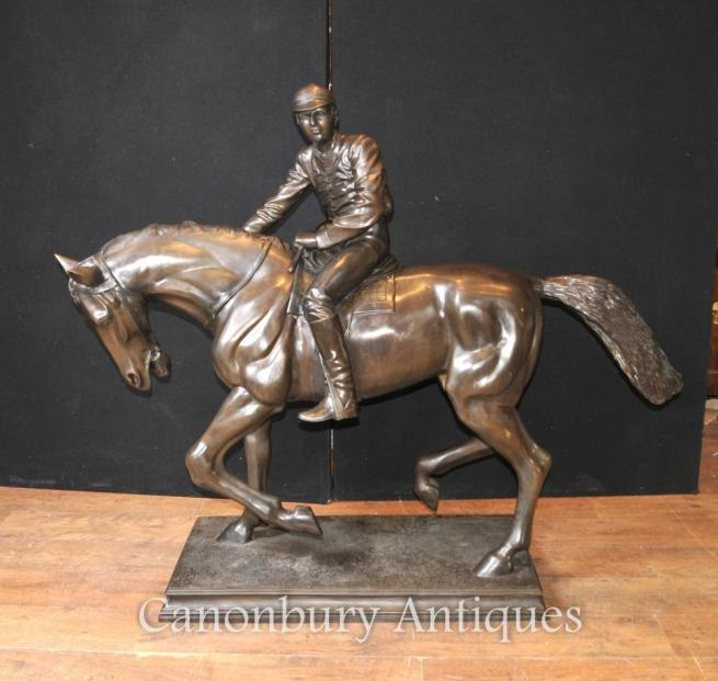Large Antique French Bronze Horse and Jockey Statue Signed