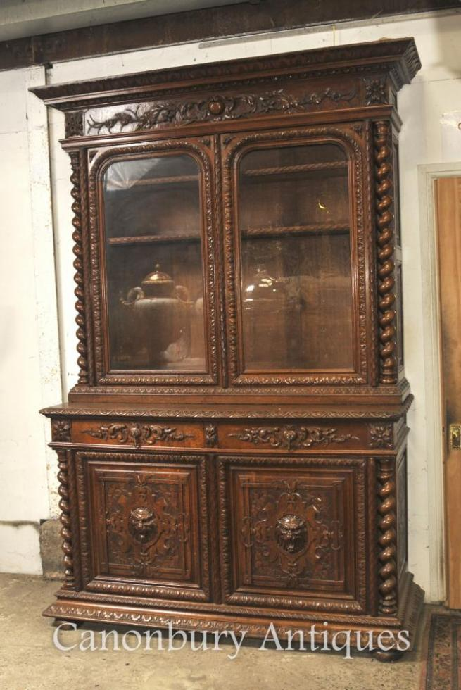 Large Antique Oak Cabinet Bookcase Farmhouse Barley Twist 1880