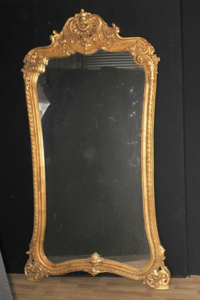 Large French Louis XVI Gilt Pier Mirror 7 Foot