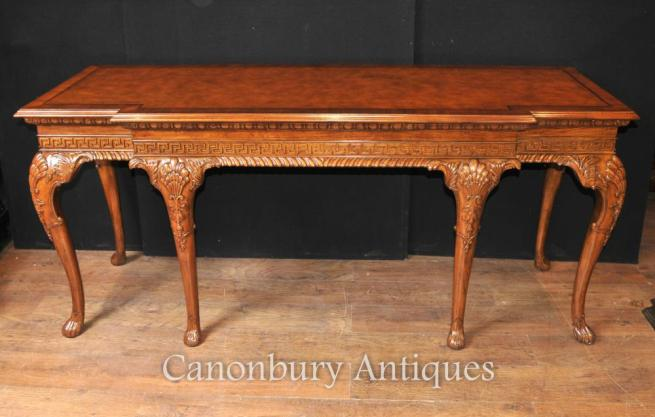 Large George II Walnut Console Table Hand Carved Tables Server