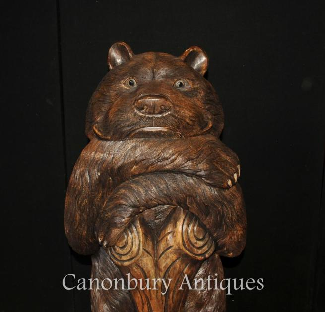 Large Hand Caved Black Forest German Bear Statue Sculpture