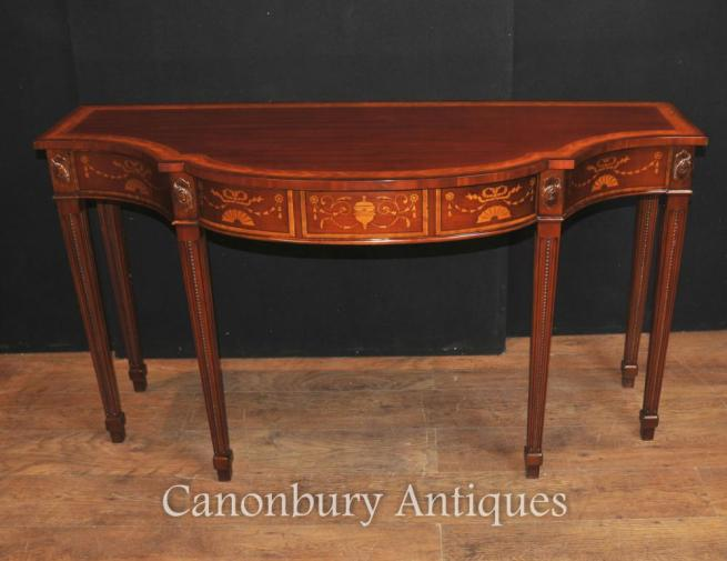 Large Regency Breakfront Console Table in Mahogany Inlay Sheraton Tables