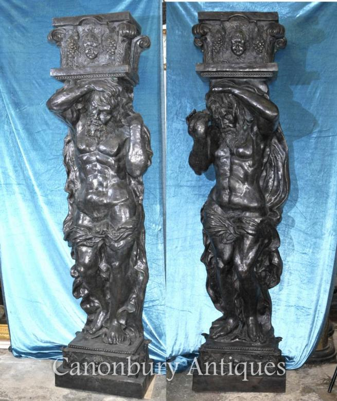 Pair 8 ft Bronze Atlas Male Figurine Statues Architectural Classic