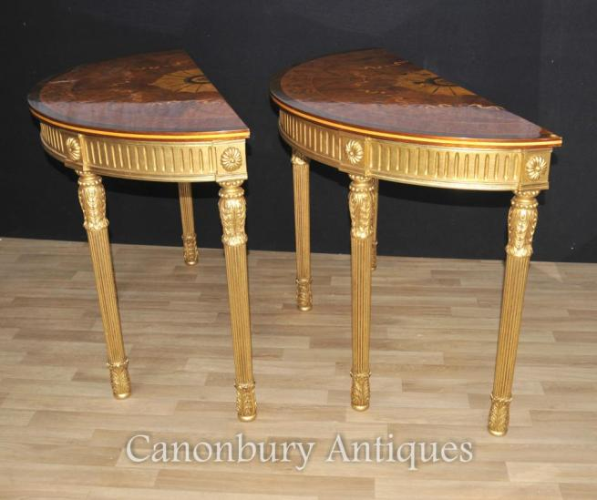 Pair Adams Regency Console Tables Demi Lune Marquetry Inlay Tops
