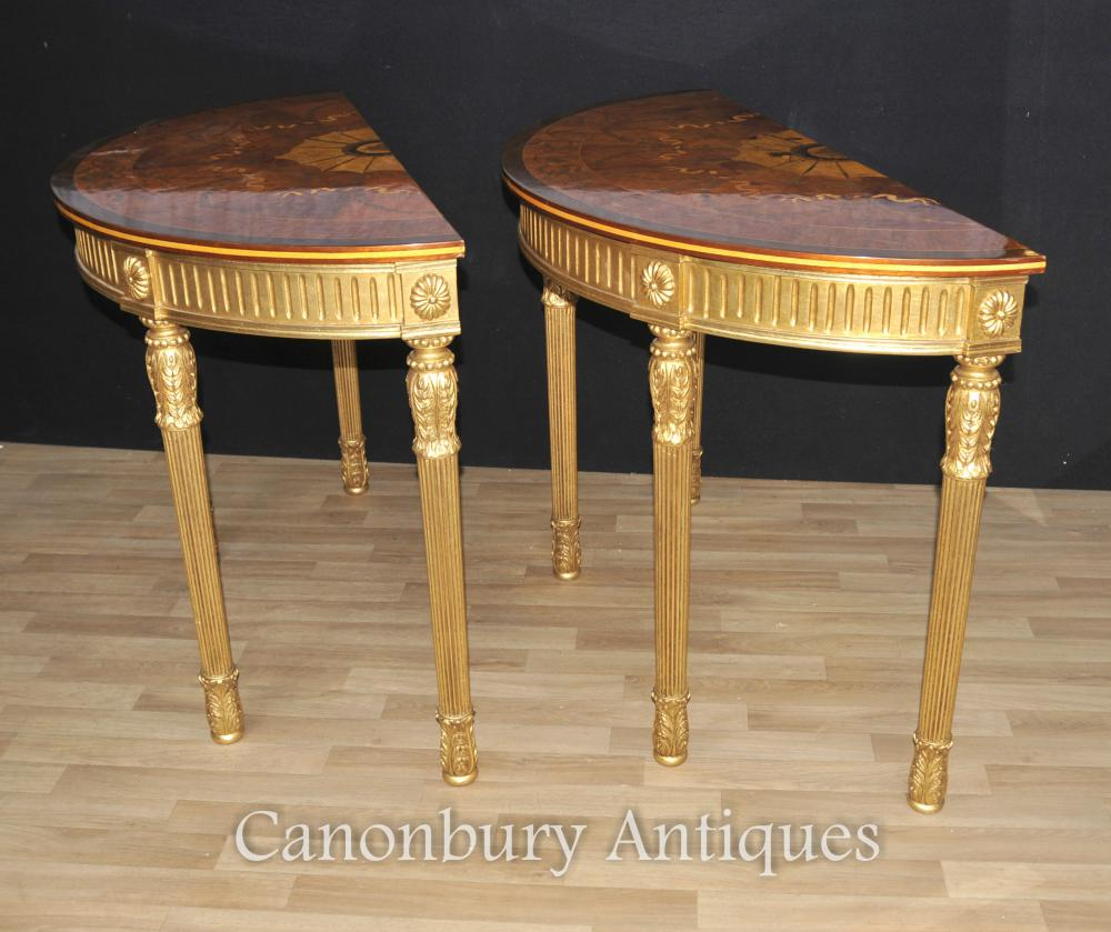 cool gallery of pair adams regency console tables demi lune marquetry inlay tops with table de. Black Bedroom Furniture Sets. Home Design Ideas