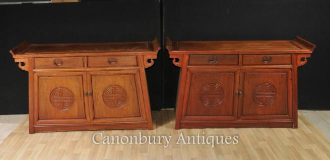 Pair Antique Chinese Mahogany Sideboards Console Tables Cabinet