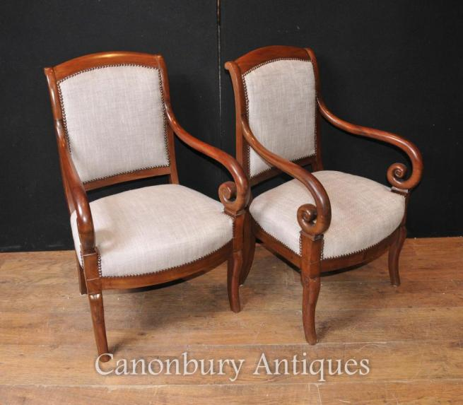 Pair Antique French Regency Arm Chairs Fauteuils Circa 1900