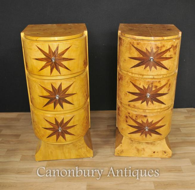 Pair Art Deco Bedside Chests Cabinets Nightstands Star Inlay