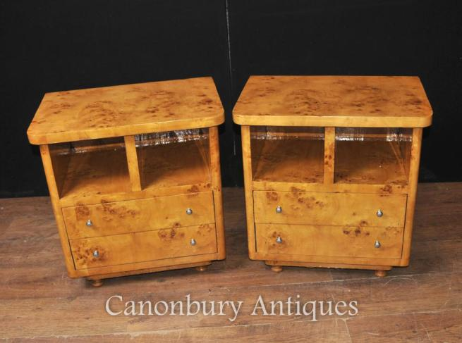Pair Art Deco Bedside Chests Nighstands Bedroom Furniture Tables