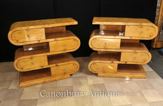 Pair Art Deco Bookcases Shelf Unites Blonde Walnut Furniture