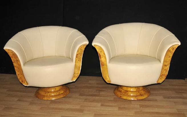 Pair Art Deco Club Chairs Swivel Arm Chair