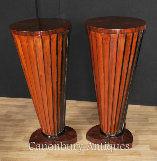 Pair Art Deco Column Pedestal Table Plinth Stands