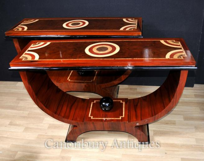 Pair Art Deco Ogee Console Tables Rosewood Marquetry Inlay