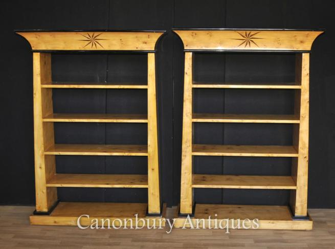 Pair Art Deco Open Front Bookcases Blonde Walnut Furniture Inlay