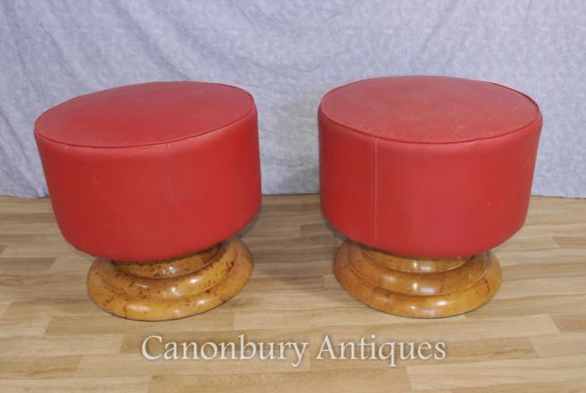 Pair Art Deco Stools Ottoman Modernist Interiors Furniture
