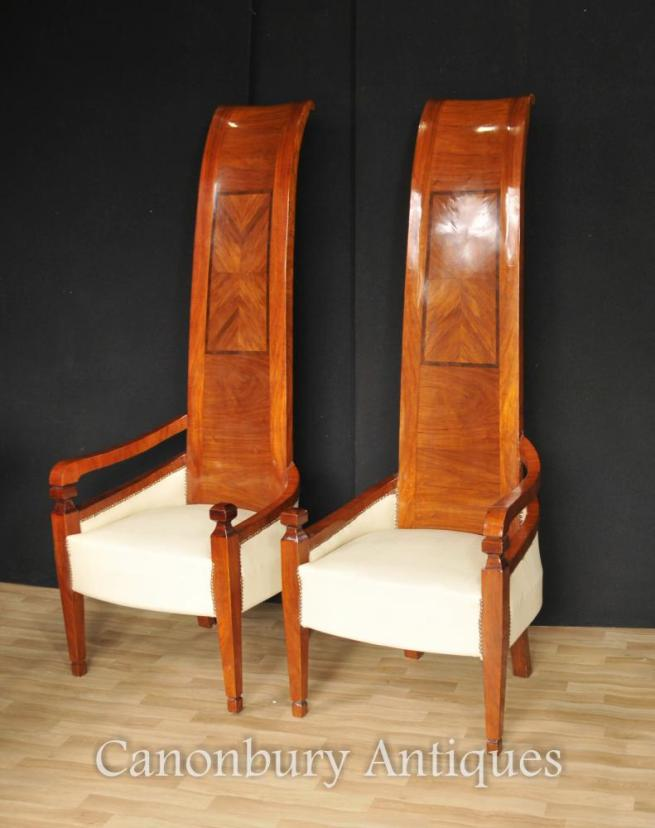 Pair Art Deco Tall Back Arm Chairs Modernist Interiors Chair