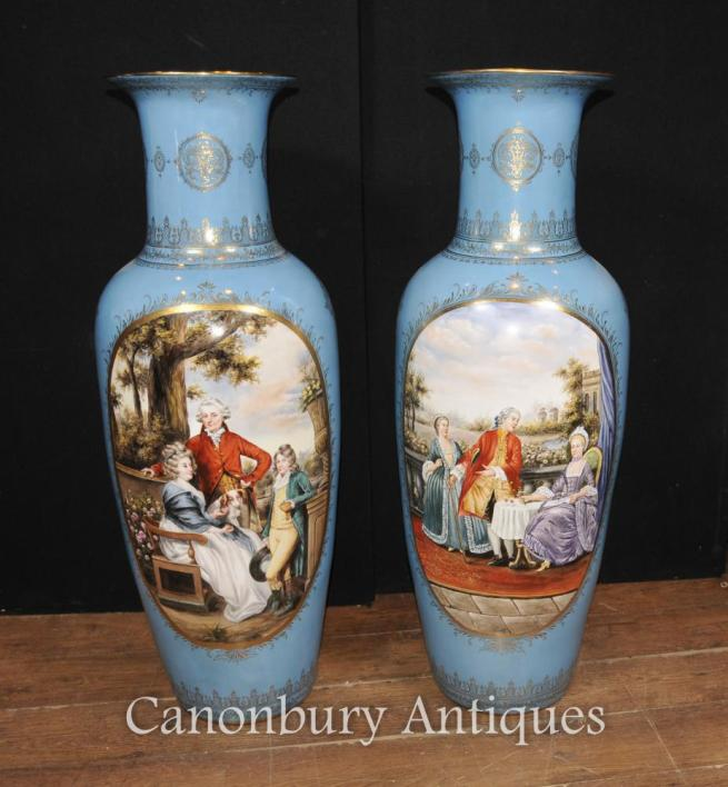 Pair Big French Sevres Porcelain Romantic Urns Paris Vase