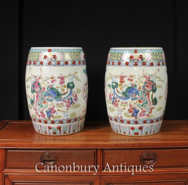 Pair Chinese Kangxi Porcelain Garden Seats Stools Dragon Urns